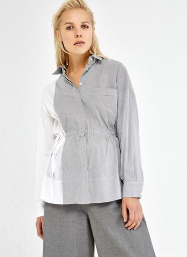 Çizgili Beli Büzgülü Gömlek-Ipekyol
